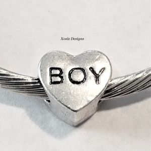 European Boy Heart Charm Bead